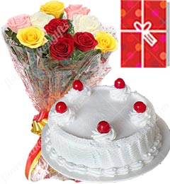 1Kg Vanilla Cake 10 Mix Roses bouquet with Greeting Card