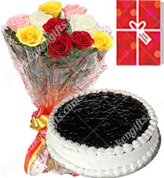 1Kg BlueBlack Berry Cake 10 Mix Roses bouquet n Greeting Card