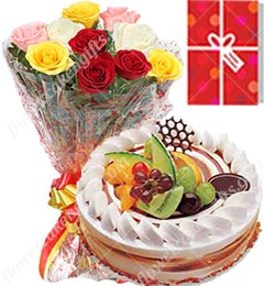 1Kg Fruit Cake 10 Mix Roses bouquet n Greeting Card