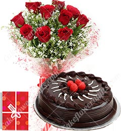 1Kg Eggless Chocolate Truffle Cake Roses bouquet Greeting Card