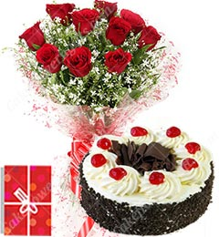 1Kg Eggless Chocolate Black Forest Cake Roses bouquet Greeting Card