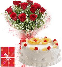 Eggless 1Kg Pineapple Cake 10 Mix Roses bouquet with Greeting Card