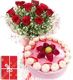 Eggless 1Kg Strawberry Cake 10 Mix Roses bouquet n Greeting Card