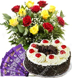 Eggless 500gms Black Forest Cake Red Yellow Roses n Chocolate Gift