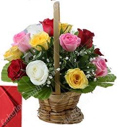 15 Mix Roses Basket