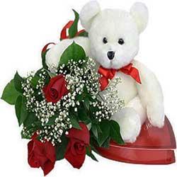 Romantic  3 Roses n Small Teddy Bear