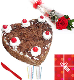 Single Roses Heart Shaped 1Kg Black Forest cake Candle Greeting Card