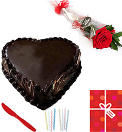 Eggless Heart Shaped 1Kg Chocolate Cake Candle Greeting Card Single Roses