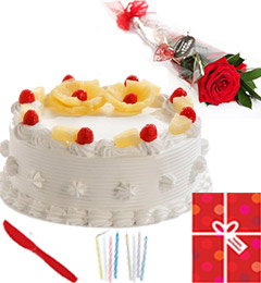 Eggless Half Kg Pineapple Cake Candle Greeting Card
