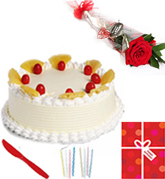 1Kg Pineapple Eggless Cake Single Roses Candle Greeting Card