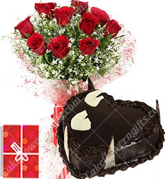 1Kg Chocolate Heart Shape Eggless Cake Roses Bouquet N Greeting Card