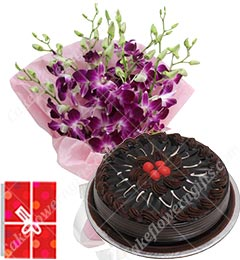500gms Chocolate Eggless Cake N Orchids Bouquet