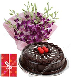 1Kg Eggless Chocolate Cake N Orchids Bouquet