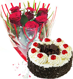 Red Roses Bunch Eggless Black Forest Cake
