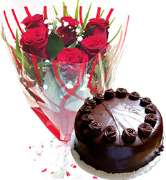 Red Roses Bunch Eggless Chocolate Truffle Cake