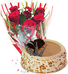 Red Roses Bunch Eggless Butterscotch Cake