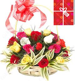 25 Mix Roses Basket
