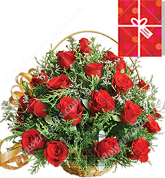 25 Red Roses Basket n Greeting Card