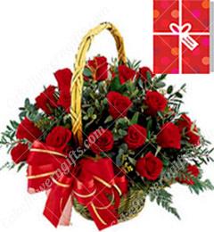 30 Red Roses Basket
