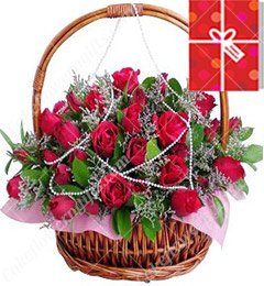35 Red Roses Basket