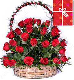 40 Red Roses Basket