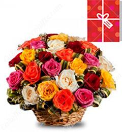40 Mix Roses Basket