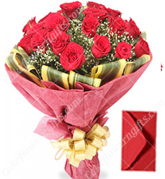 red roses bunch and greeting Card