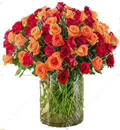 50 Red and Orange Roses Flower