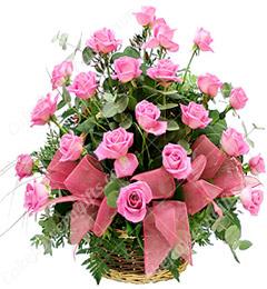 20 Pink Roses Basket