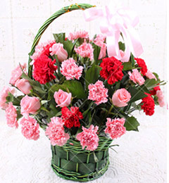 20 Pink Red Roses and carnation Flower Basket