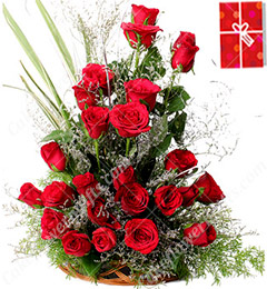 20 Red Roses Designer Basket