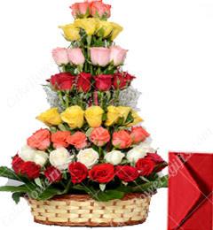 Red Pink Yellow White Orange Roses Basket
