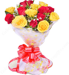 Yellow Red Roses Flower Bouquet
