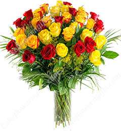 25 Red and Yellow Roses