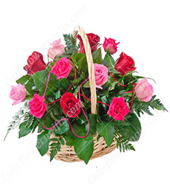15 Red Pink Roses-Basket Gift