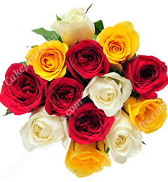 12 fresh mixed roses bouquet