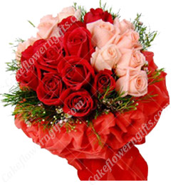 Pink n Red Roses bouquet