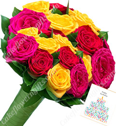 Red Pink Yellow Roses Flower Bouquet