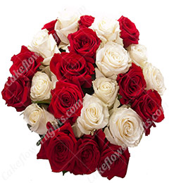 20 Red n White Roses Bouquet