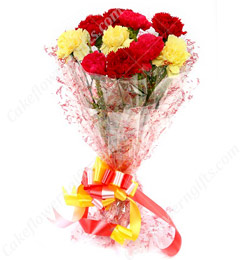 Mix Carnations bunch with Greeting