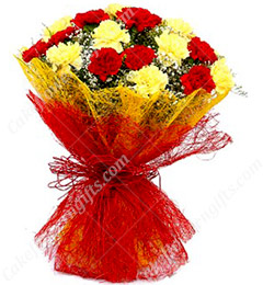 15 Red n Yellow Carnations Bouquet