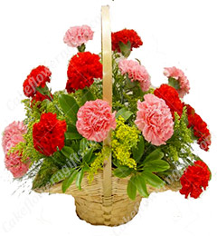 Mix Carnations flower basket