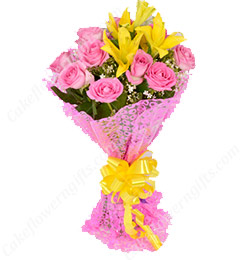 Pink Roses n Yellow Lilies Bouquet