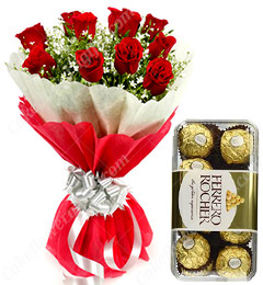 Red Roses Bouquet n Ferrero Rocher chocolates Gift