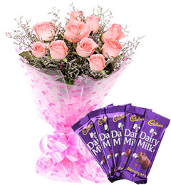 Pink Roses Bouquet n Chocolate
