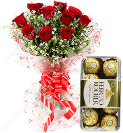 Red Roses Bouquet n Ferrero Rocher Chocolate