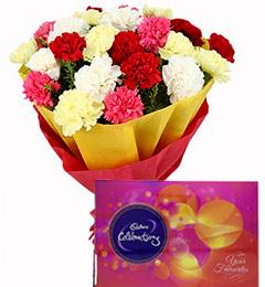 Carnations Bouquets n Cadbury Celebrations Chocolate Gift Box