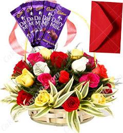 Mix Roses Basket n Chocolates