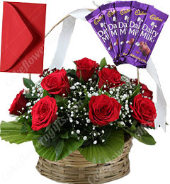 Red Roses Basket N Chocolates
