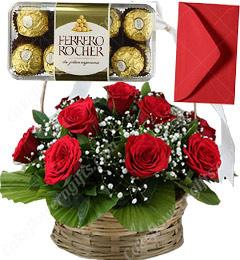 Red Roses Basket n 16 Ferrero Rocher Chocolate Gift